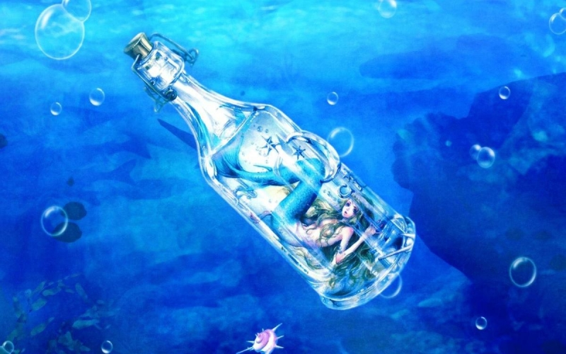 mermaid-underwater-bottle-sea